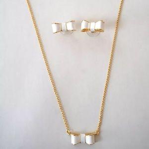 Kate Spade White Enamel Bow Necklace/Earring Set